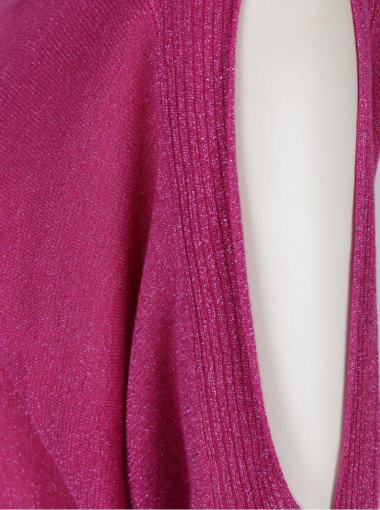 Růžový třpytivý dámský svetr s průstřihy na ramenou M&Co