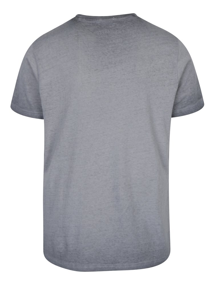Tricou gri cu logo print si aspect prespalat Pepe Jeans West Sir II