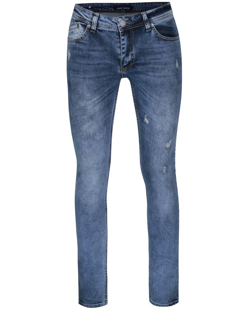 Modré pánské slim fit džíny s potrhaným efektem Jimmy Sanders