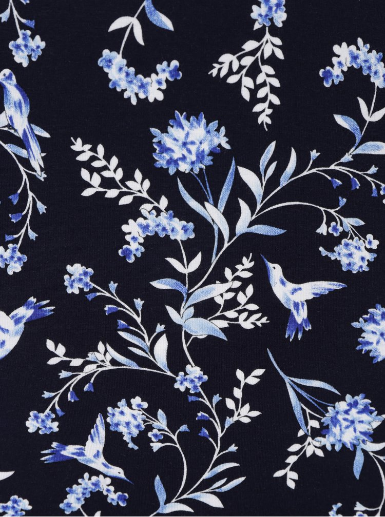 Tmavě modré květované šaty s kapsami M&Co