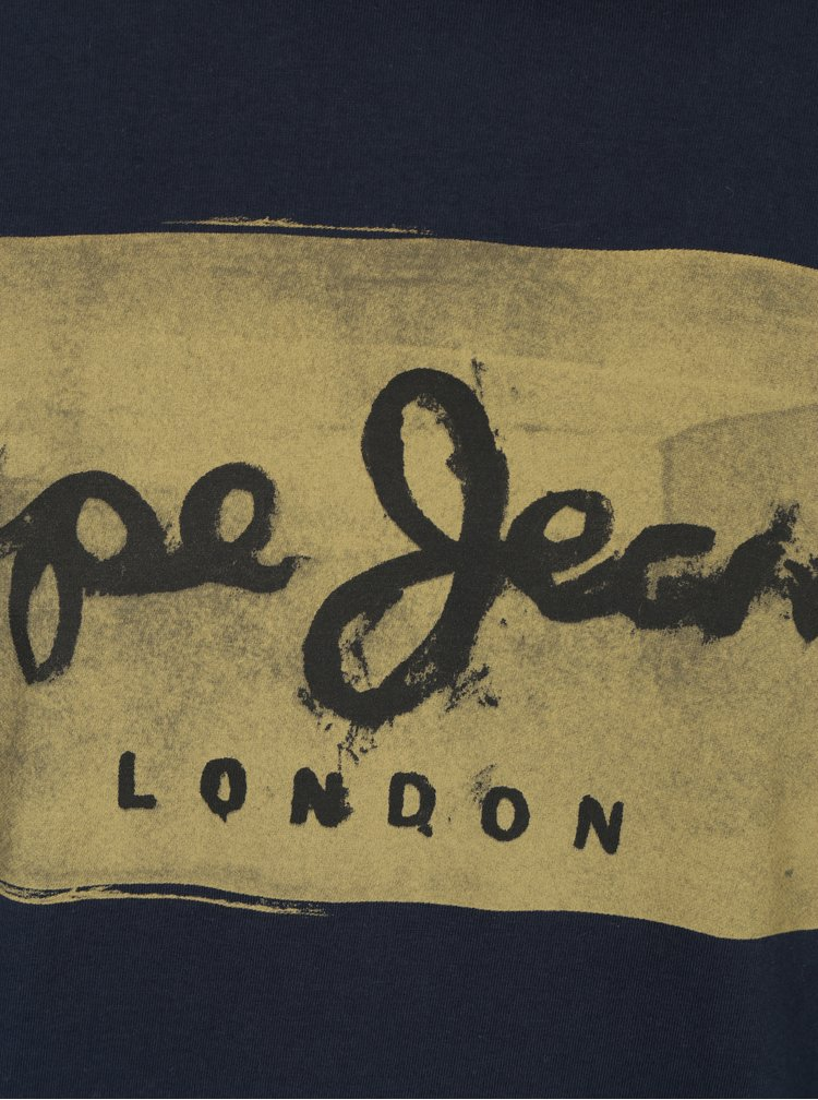 Tmavomodré pánske tričko s potlačou Pepe Jeans Charing