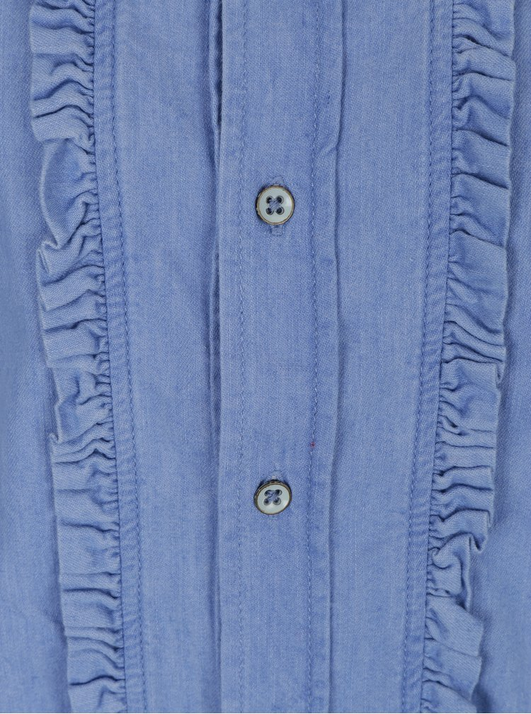 Camasa albastru deschis cu volane Pepe Jeans Frilly