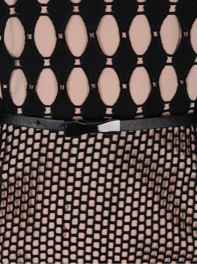 Béžovo-černé krajkované maxišaty Little Mistress