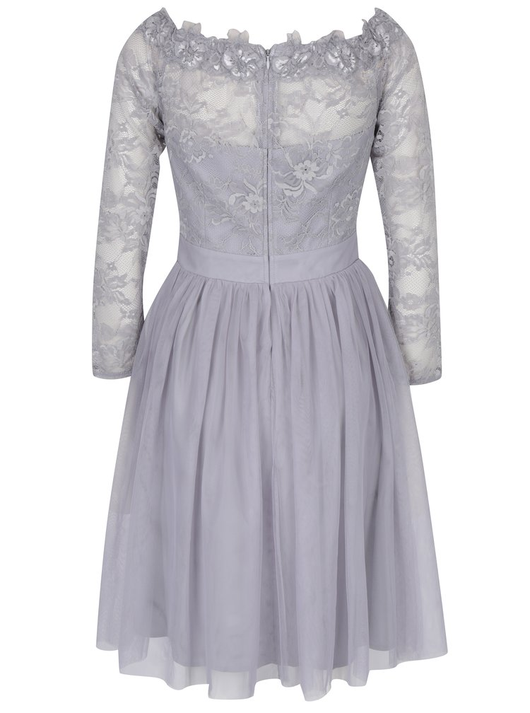 Šedé šaty s odhalenými rameny a krajkovým topem Little Mistress
