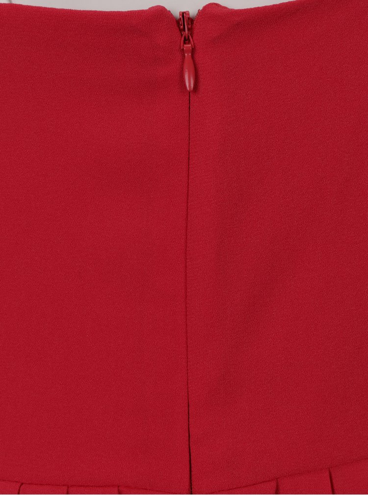 Rochie lunga rosu & bej cu dantela si pliuri discrete - Little Mistress
