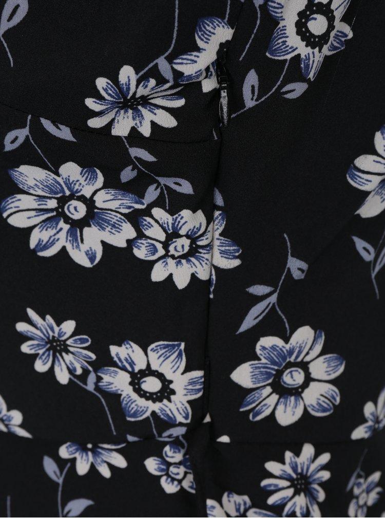 Černé áčkové květované šaty bez rukávů Mela London