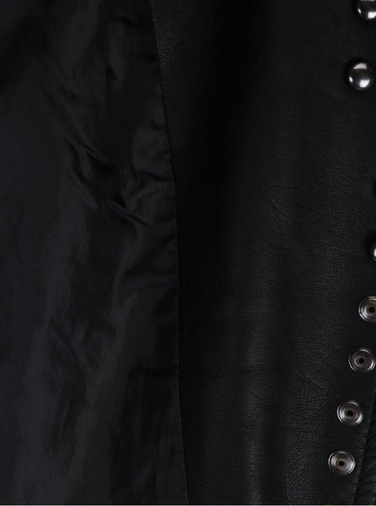 Černý koženkový křivák s ozdobnými plastickými detaily TALLY WEiJL