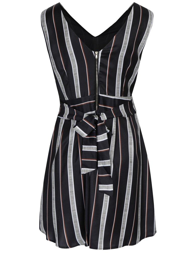 Černé pruhované šaty Mela London