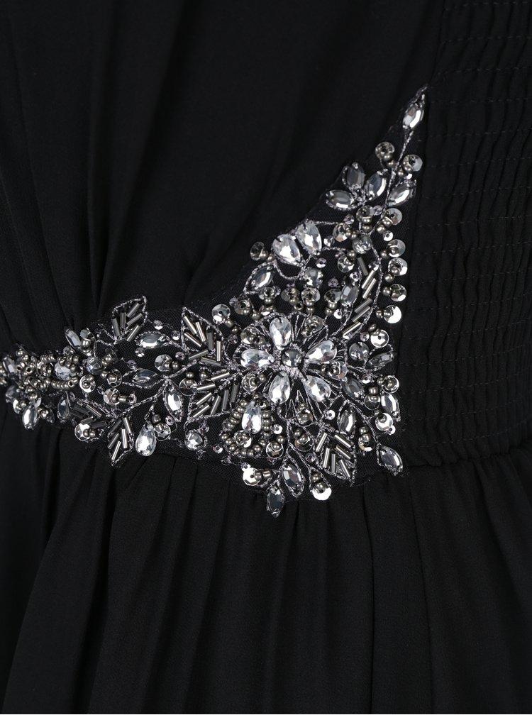 Rochie neagra fluida cu aplicatii in zona taliei si a bretelelor - Little Mistress