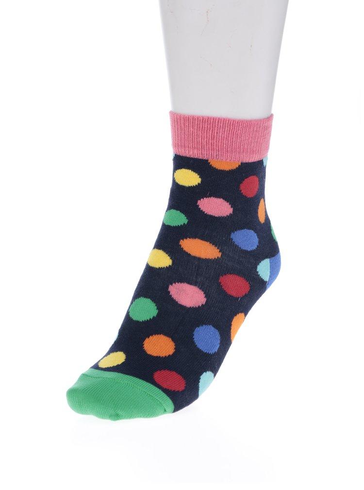 Růžovo-modré dětské puntíkované ponožky Happy Socks Big Dot
