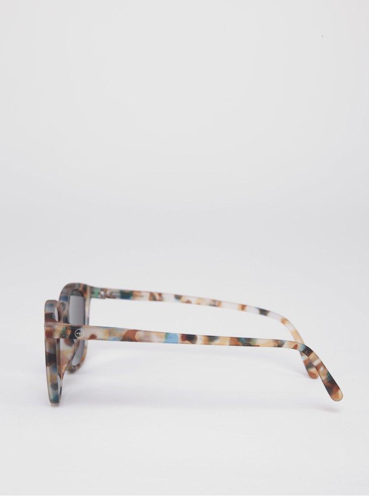 Hnědé dětské maskáčové sluneční brýle s modrými skly IZIPIZI  #E