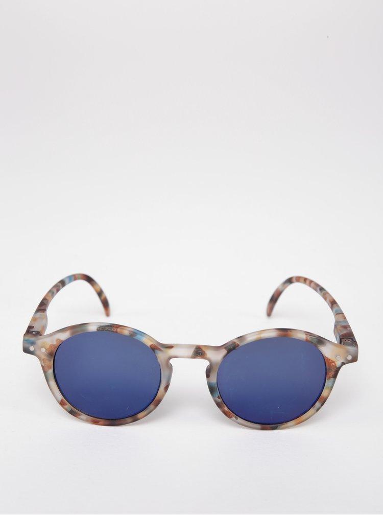 Hnědé dětské maskáčové kulaté sluneční brýle s modrými skly IZIPIZI  #D