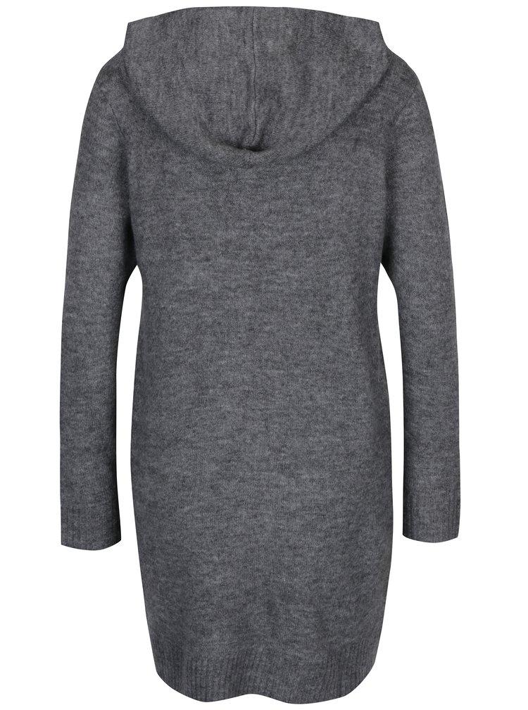 Tmavě šedý dlouhý žíhaný svetr s kapucí Jacqueline de Yong Alice