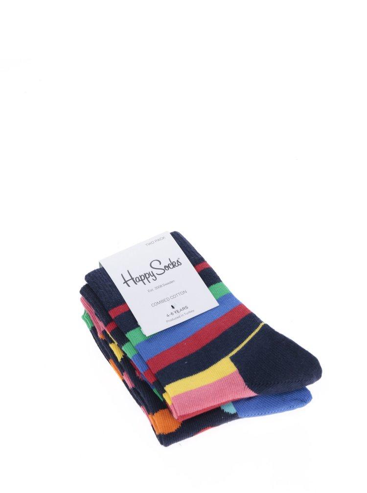 Sada dvou párů dětských vzorovaných ponožek v modro-růžové barvě Happy Socks Stripe