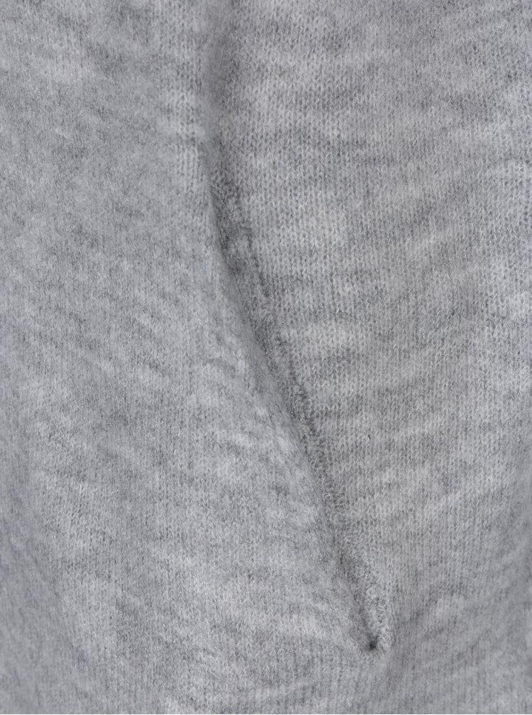 Šedý dlouhý žíhaný svetr s kapucí Jacqueline de Yong Alice