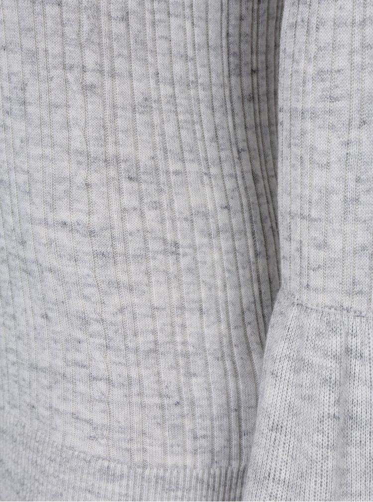 Světle šedý lehký svetr se zvonovými rukávy VILA Lesly