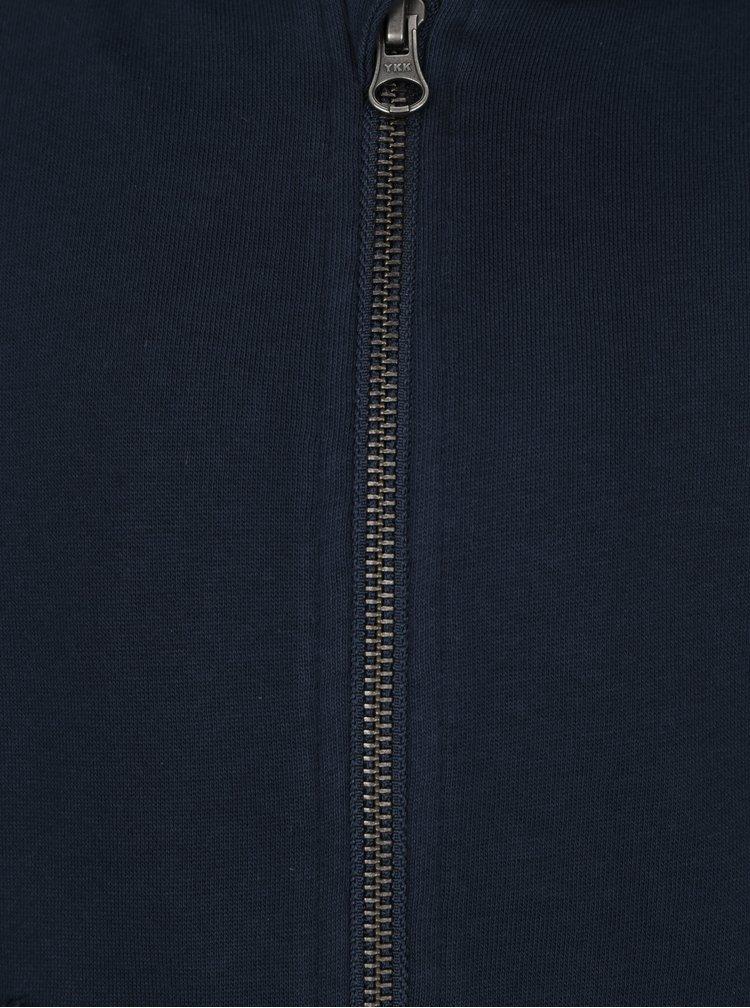 Tmavě modrá žíhaná klučičí mikina na zip name it Kalman