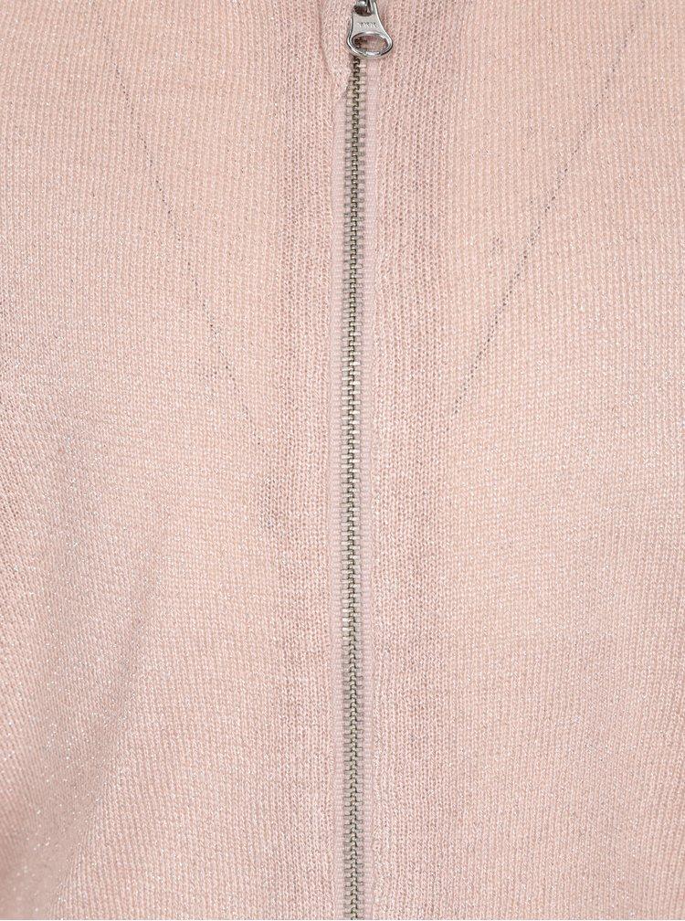 Růžový třpytivý holčičí cardigan na zip name it Kaboma