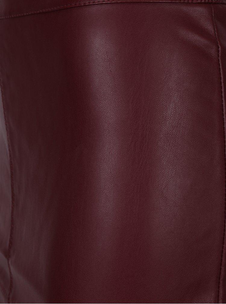 Vínová koženková pouzdrová sukně VILA Pen