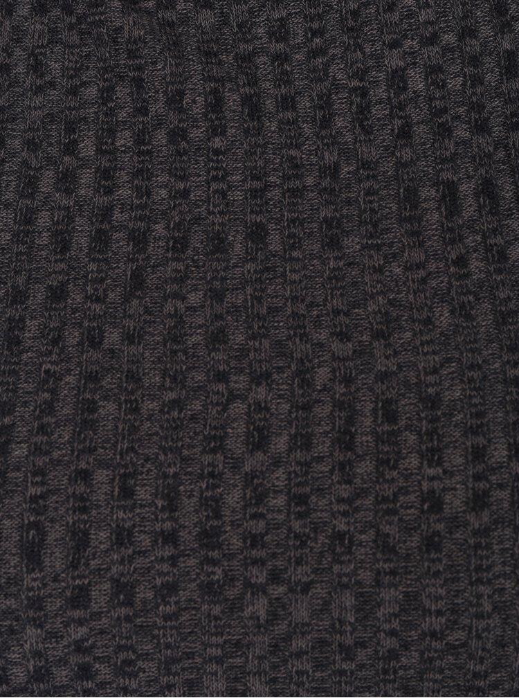 Tmavě šedý lehký žebrovaný žíhaný svetr Jacqueline de Yong Mei