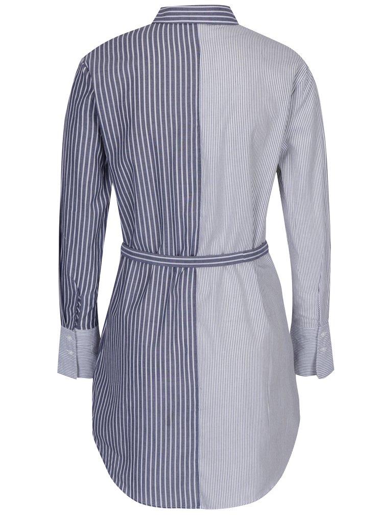 Bílo-modrá pruhovaná dlouhá košile se zavazováním TALLY WEiJL