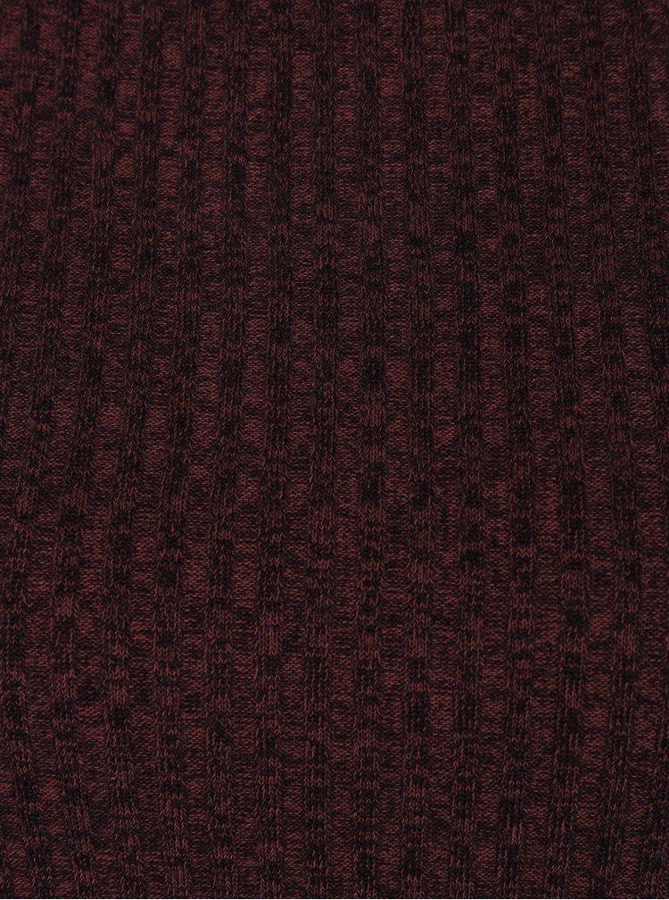 Vínový lehký žebrovaný žíhaný svetr Jacqueline de Yong Mei
