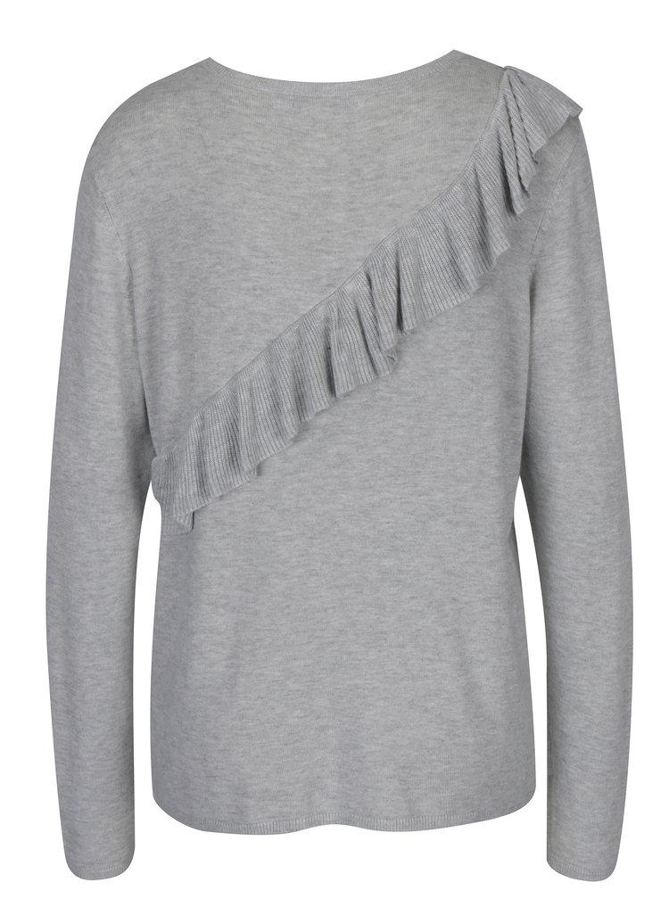 Světle šedý žíhaný svetr s volánem ONLY Mila
