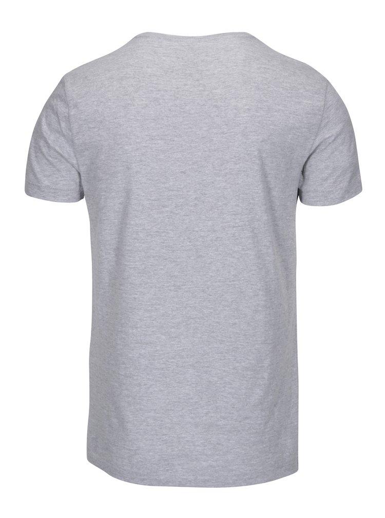 Tricou gri melanj cu print Blend