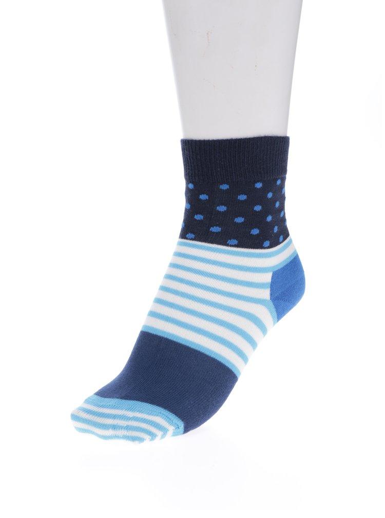 Modré dětské puntíkované ponožky Happy Socks Stripe & Dot