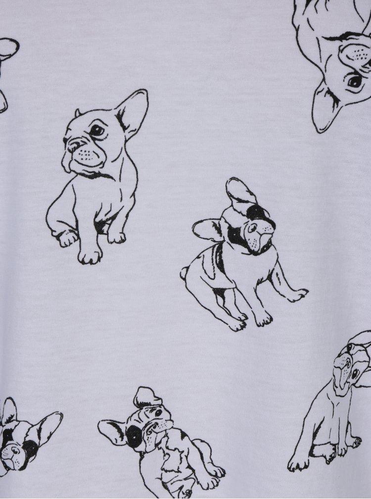 Tricou asimetric alb cu imprimeu  pugs - TALLY WEiJL
