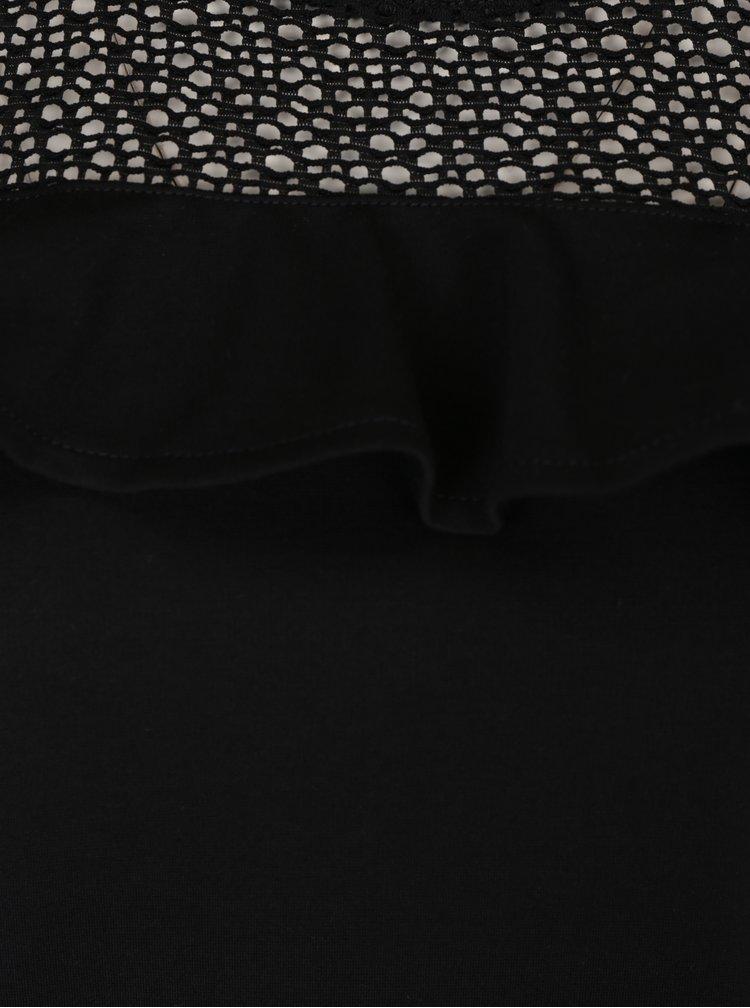 Černý top s krajkovým sedlem VILA Miracles
