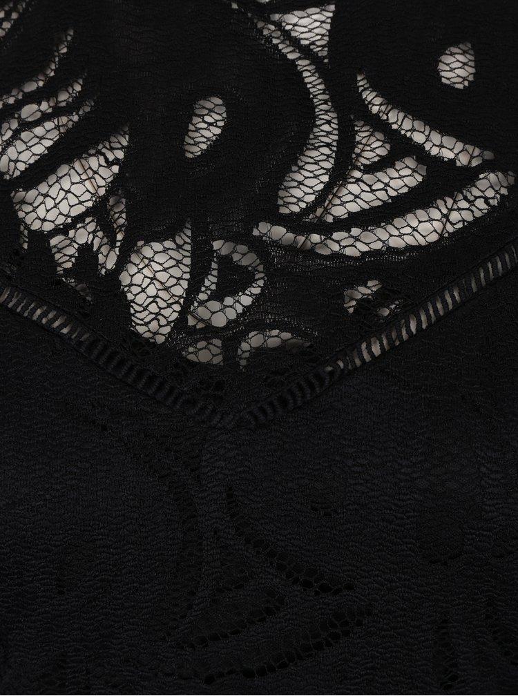 Černý krajkový top s dlouhým rukávem VILA Stasia