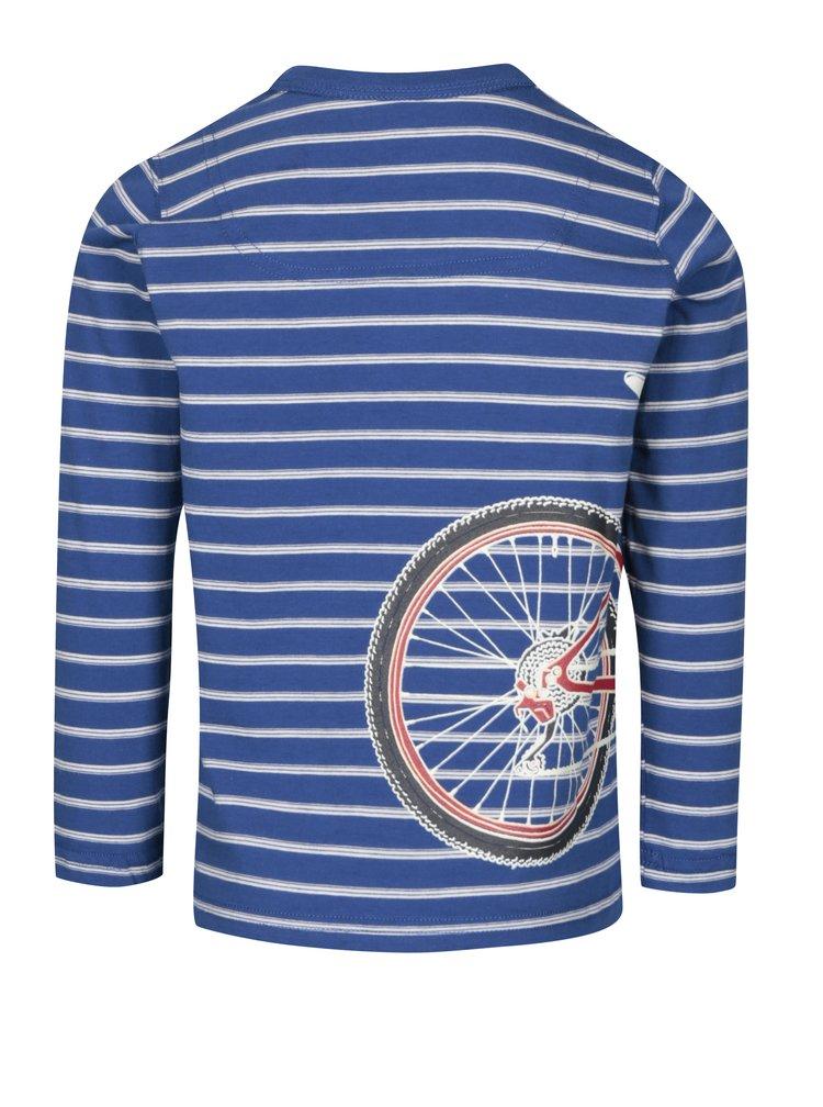 Modré pruhované chlapčenské tričko s fosforeskujúcou potlačou Tom Joule Raymond