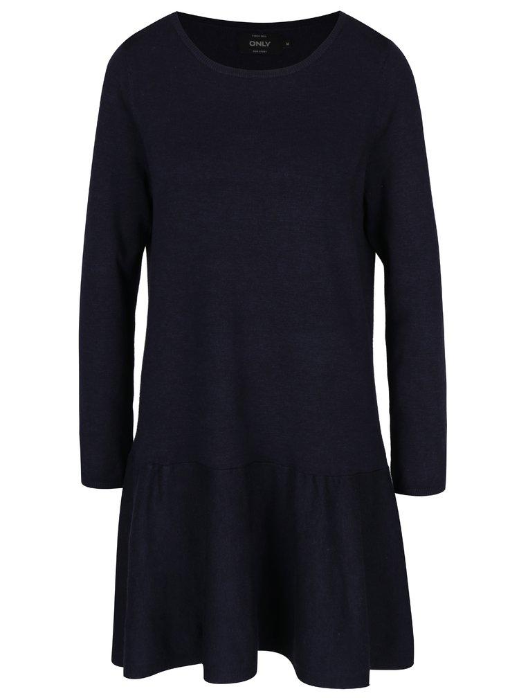 Tmavě modré svetrové šaty ONLY New Cosa