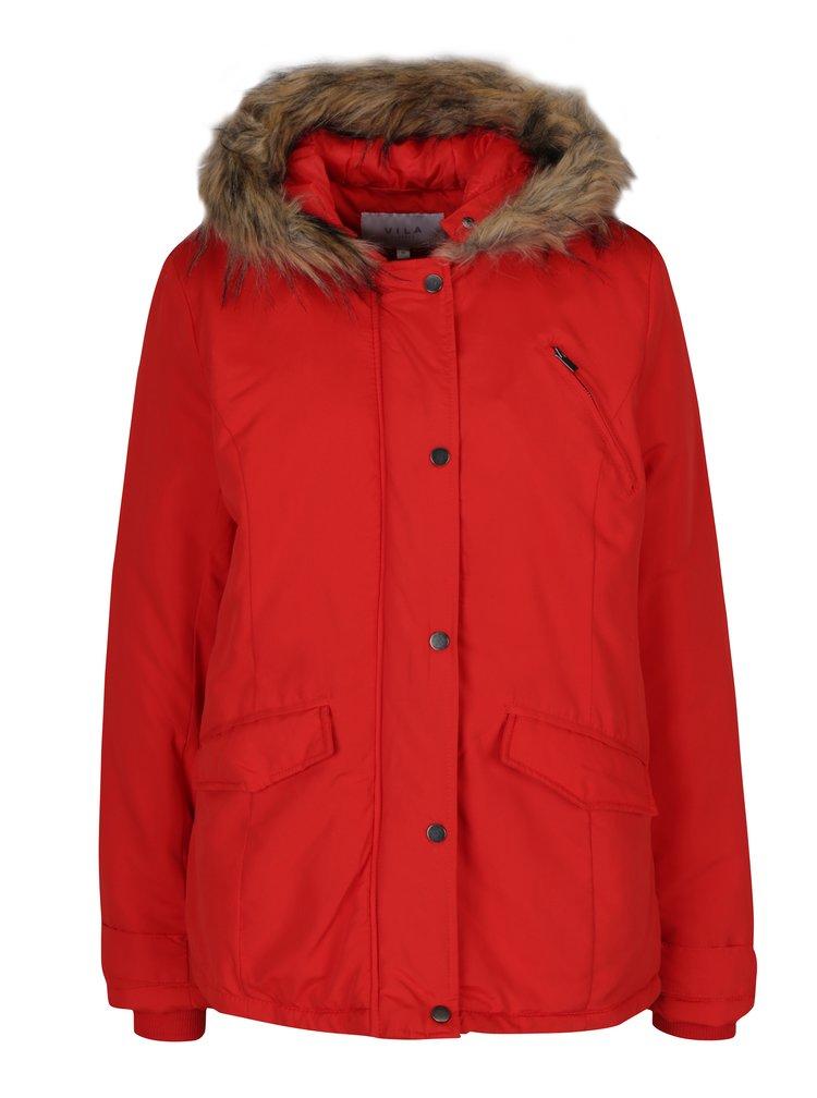 Červená bunda s umělým kožíškem VILA Must