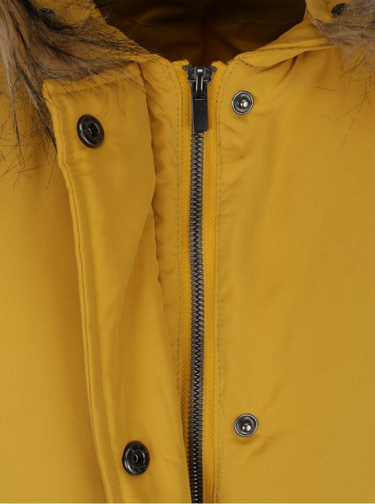 Žlutá bunda s umělým kožíškem VILA Must