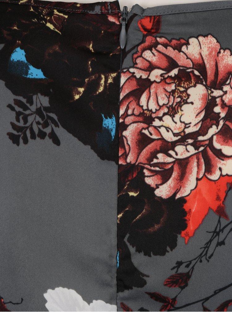 Tmavě šedé květované šaty se zavazováním ONLY Riga