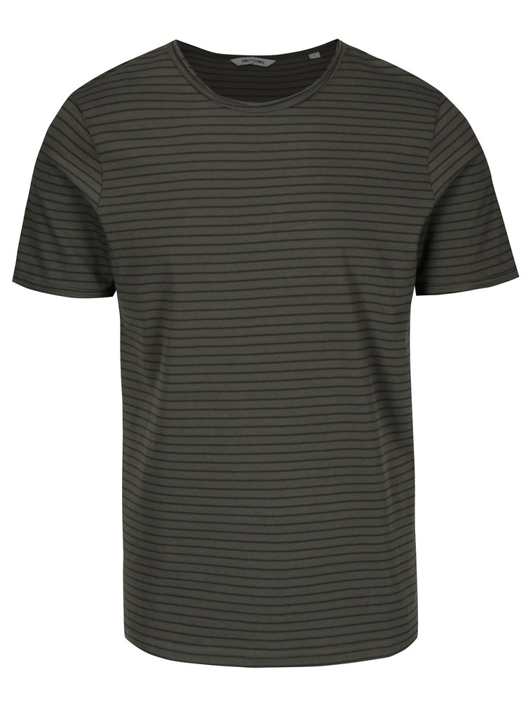 Zelené pruhované tričko ONLY & SONS Albert Stripe