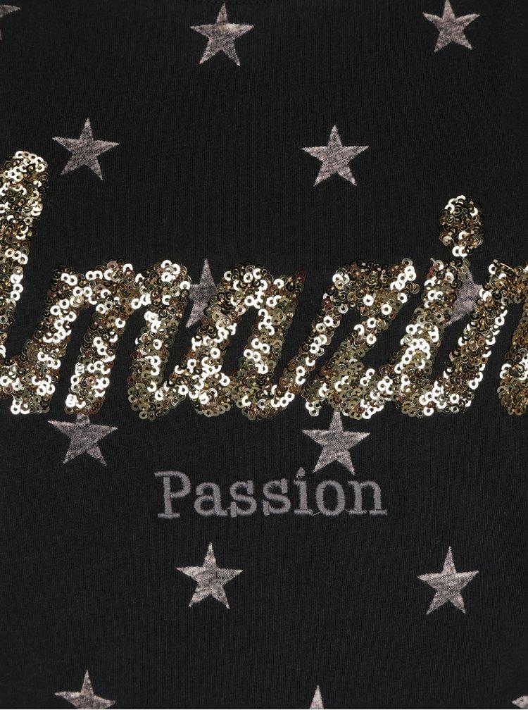 Černé tričko s potiskem hvězd a flitry ONLY Star