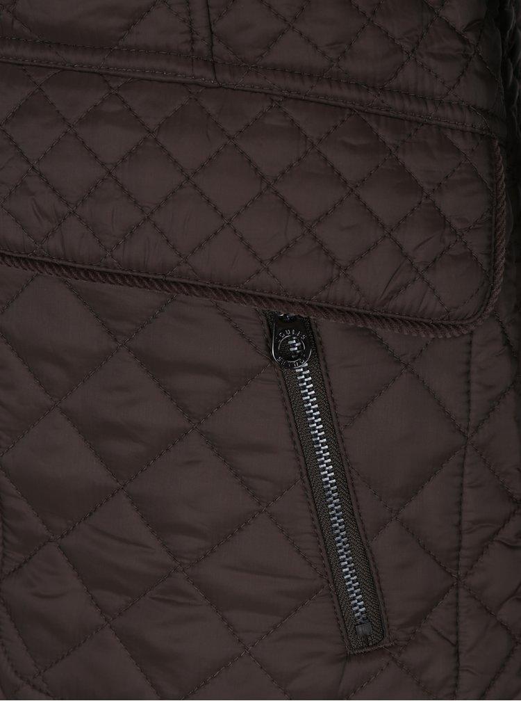 Tmavě hnědá dámská prošívaná bunda s kapsami Tom Joule Newdale