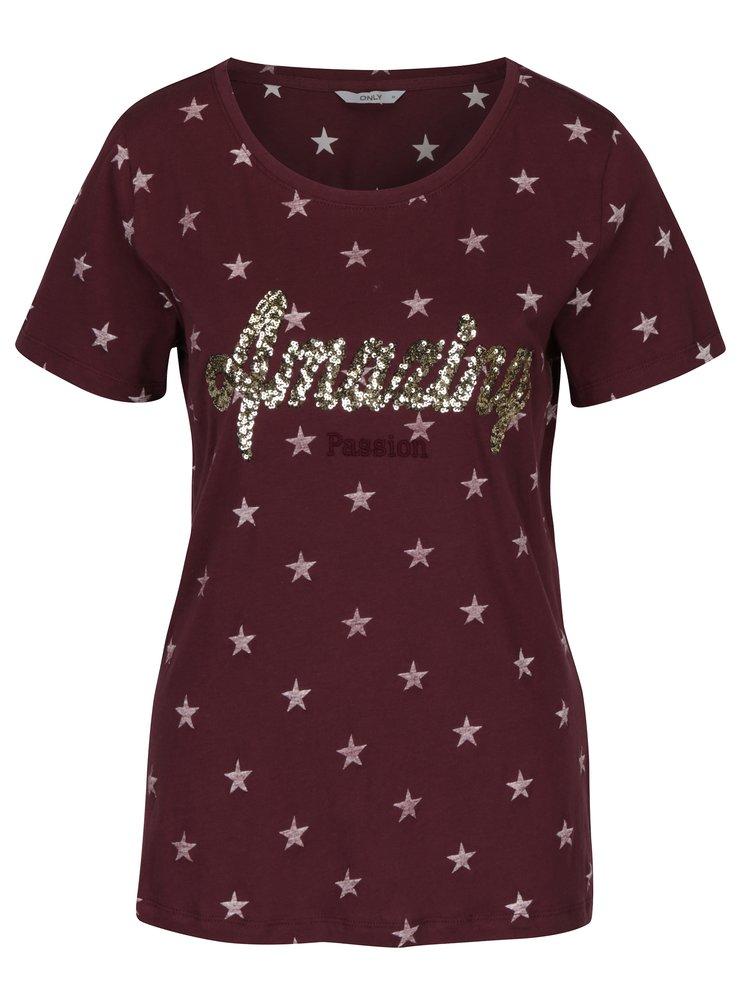 Vínové tričko s potiskem hvězd a flitry ONLY Star