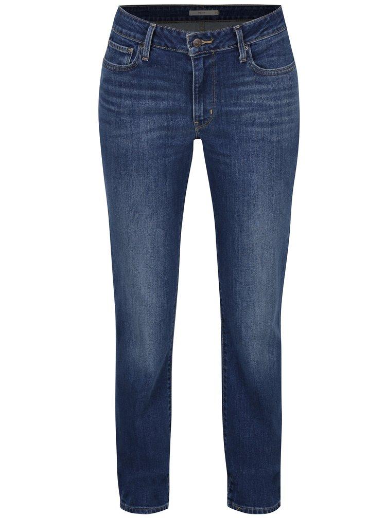 Modré dámské slim džíny s vyšisovaným efektem Levi's® Run All Mixed Up