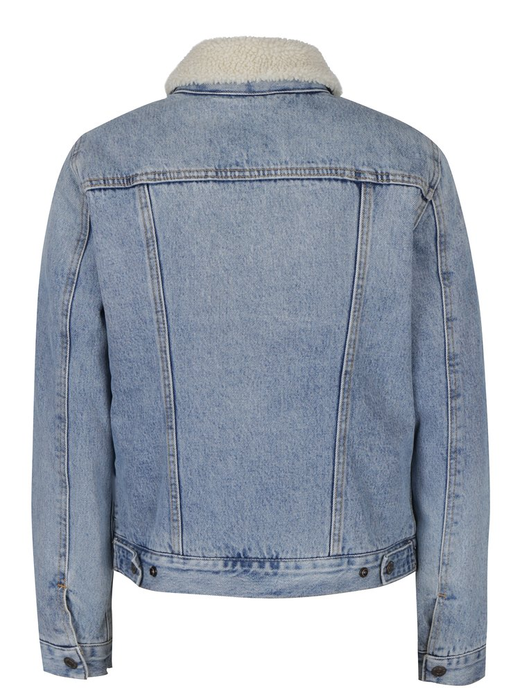 Jacheta albastra din denim cu blana artificiala Levi's® Strangeways