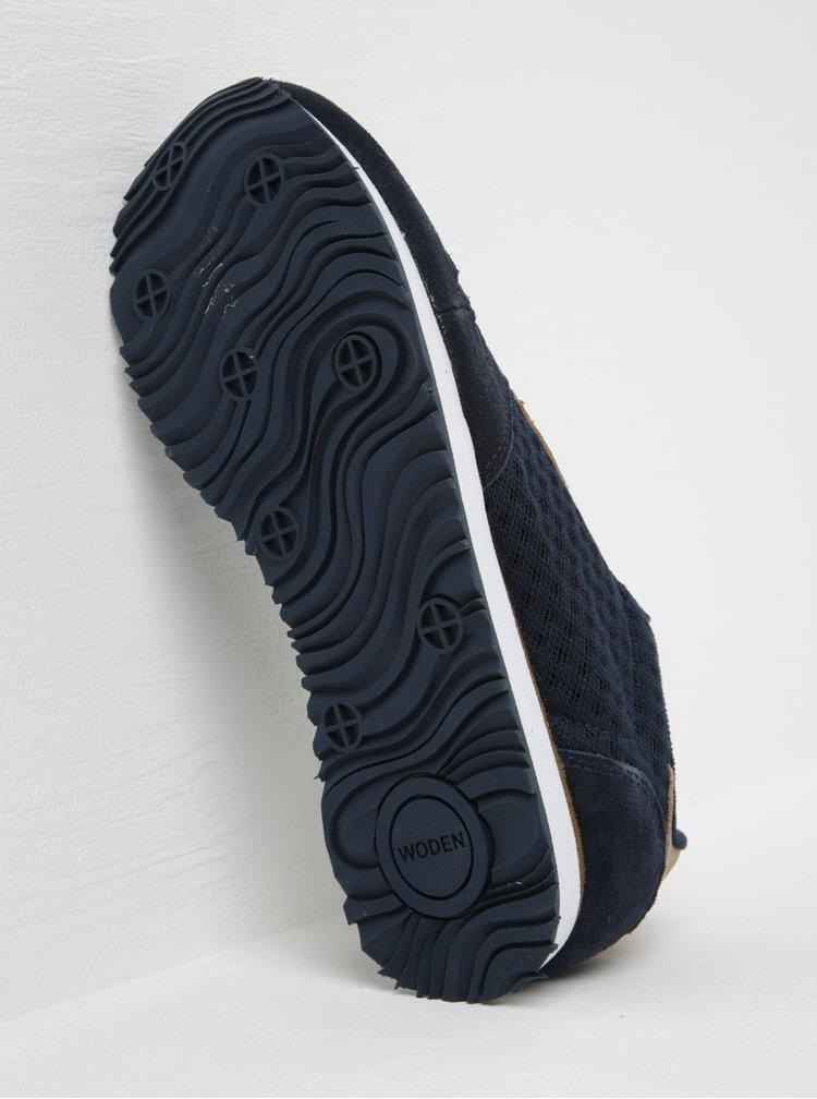 Tmavě modré dámské tenisky se semišovými detaily Woden Ydun Suede Mesh