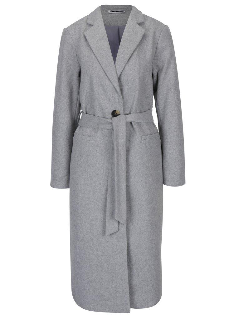 Světle šedý dlouhý kabát s páskem Noisy May Minna