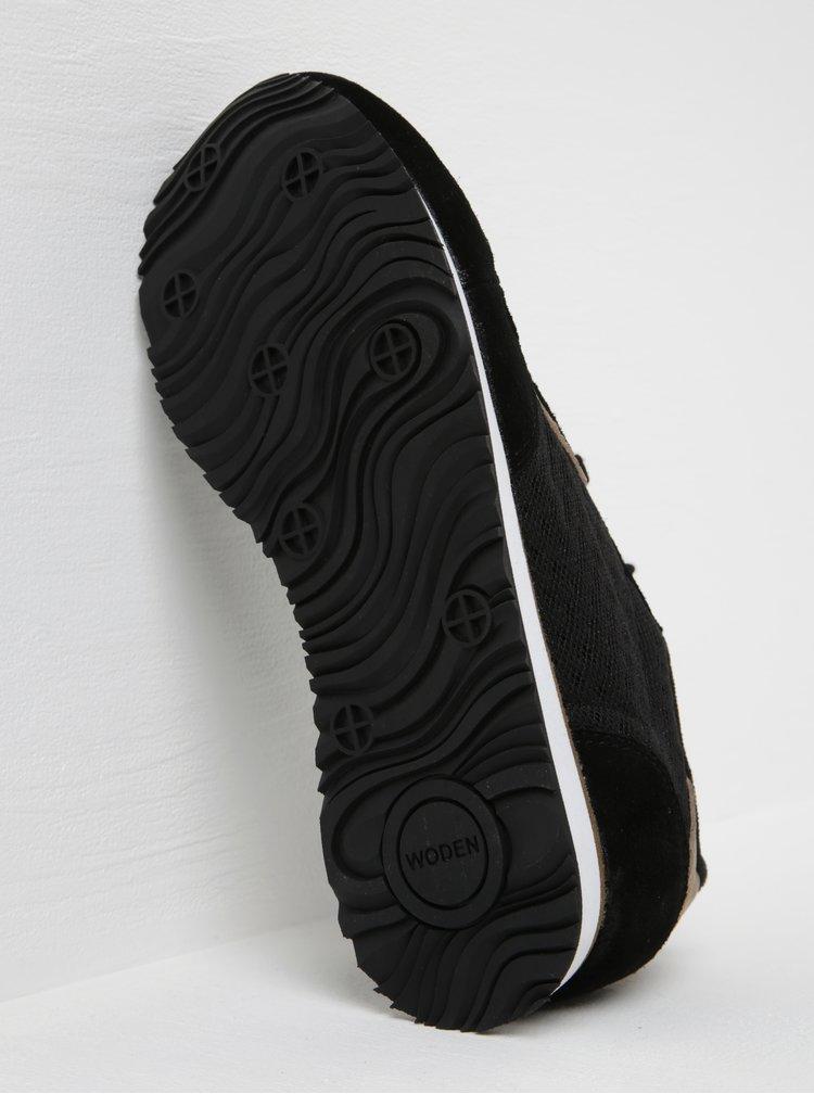 Černé dámské tenisky se semišovými detaily Woden Ydun Suede Mesh