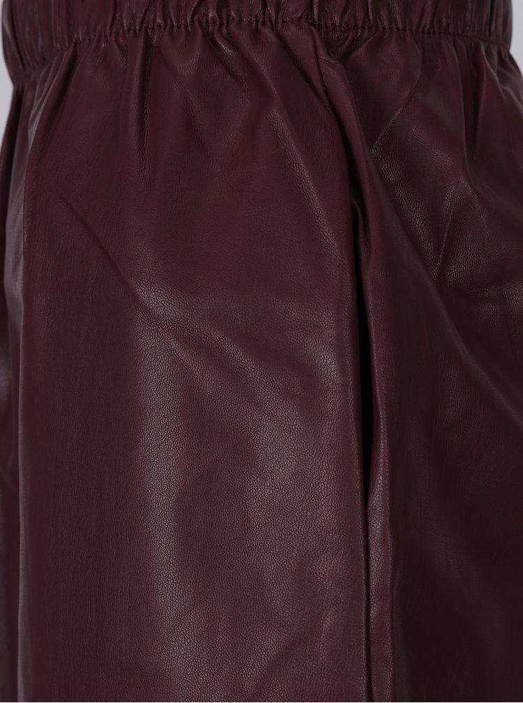Vínová koženková sukně s kapsami ONLY Tinka