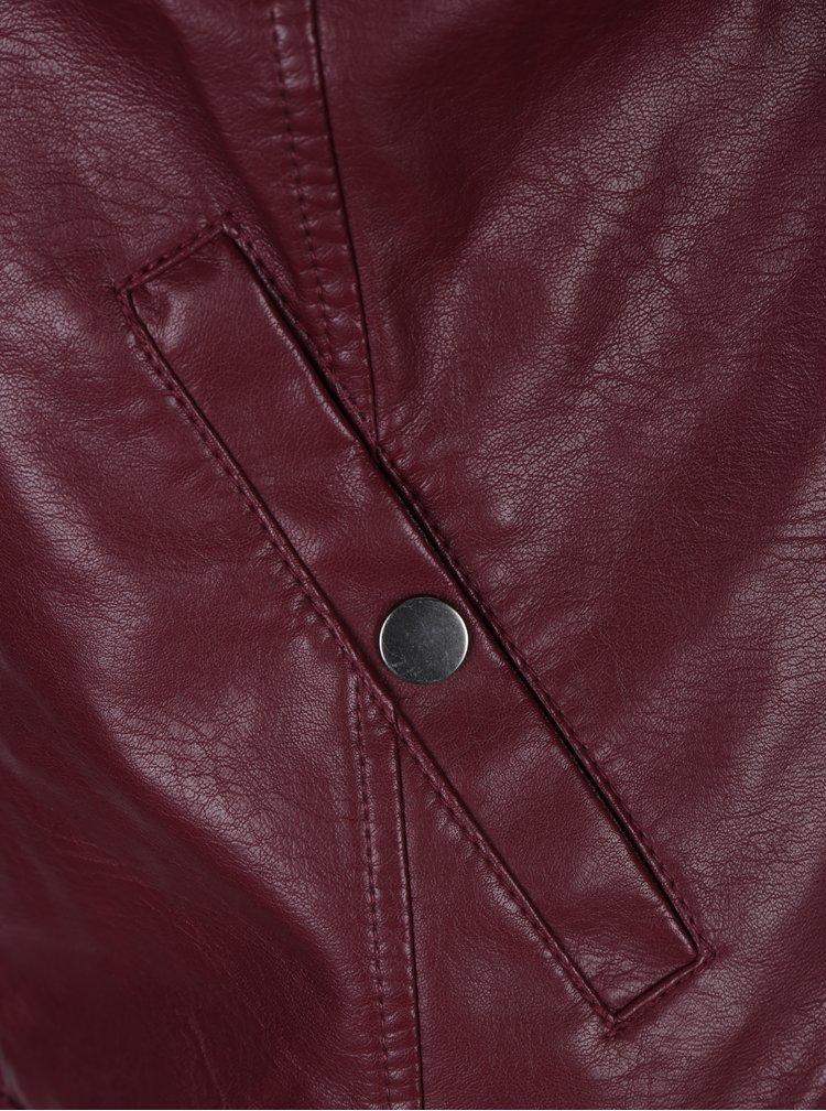Vínová koženková bunda VERO MODA Soffy
