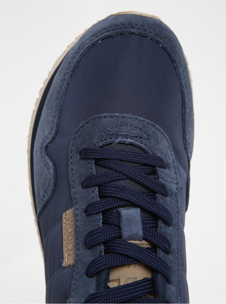 Modré dámské tenisky se semišovými a metalickými detaily Woden Nora II