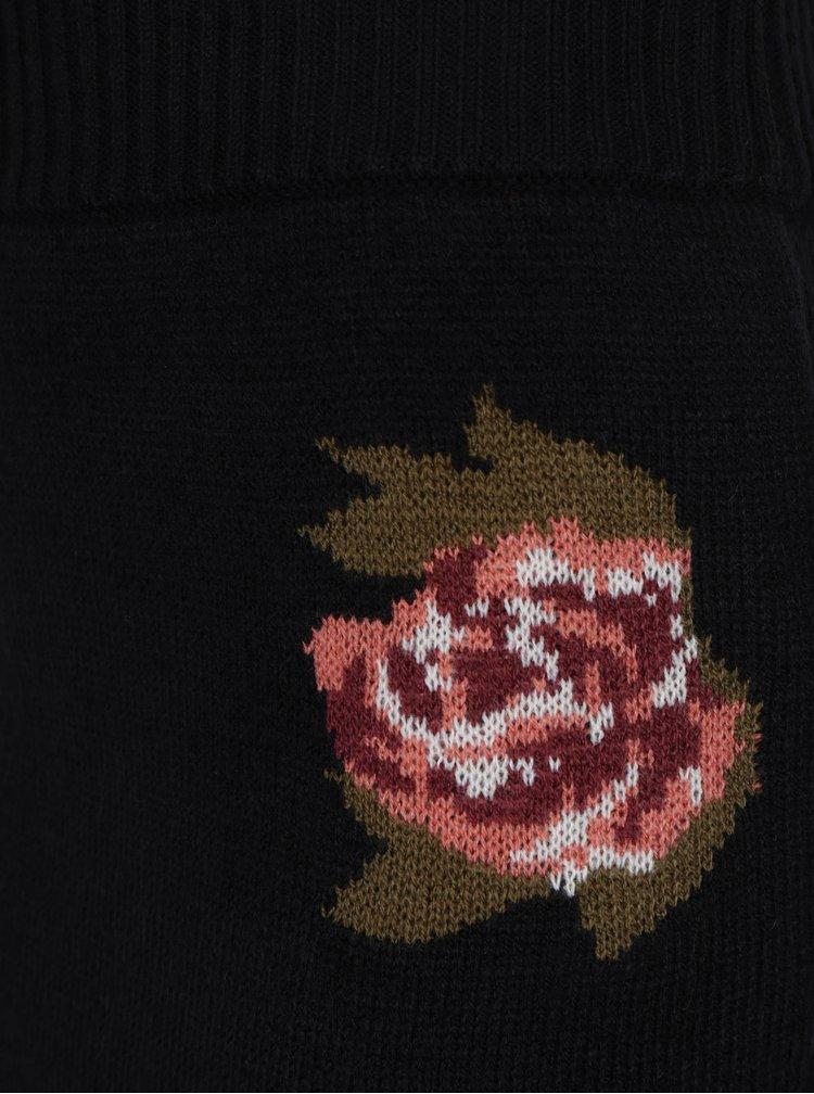 Černá sukně s motivem růží VERO MODA Belmont